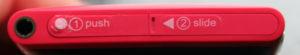 Nokia Lumia 800 Ansicht von Oben (Verdeckkappe 1 für USB-Anschluss und 2 für SIM-Karte)