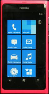 Nokia Lumia 800 Startbildschirm