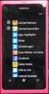 Nokia Lumia 800 Programmliste