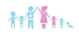 Logotext Mama, Papa und fuenf Kinder