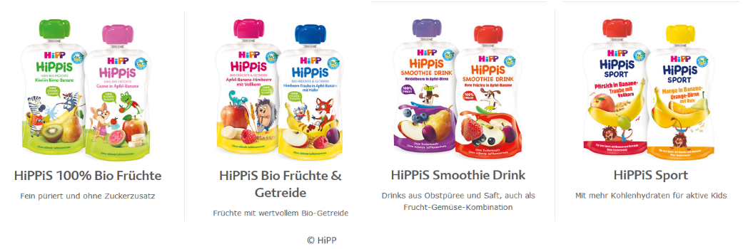 Smoothies Fruchtmus Sortiment von Hipp